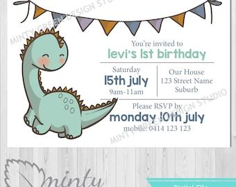 Dinosaur Birthday Invitation | First birthday invitations | 1st birthday invitations | Boy invitations | Cute Dinosaur