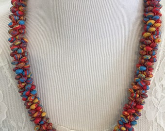 Big, fun, kumihimo necklace with multi colored 8mm beads