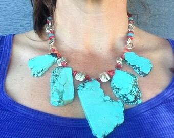 Chunky Turquoise Bib Necklace