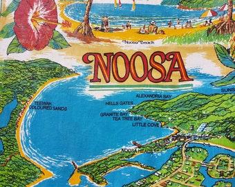 Vintage Linen Cotton Tea towel Queensland Australia Noosa Beach Australiana