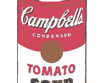Warhol Tomato Soup Cross Stitch Pattern (Pattern #041)