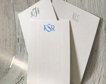 Monogrammed Flat Vertical Note Card Set with Metallic Foil Lettering | Personalized Stationery Set | Personalized Lay Flat Cards
