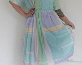Vintage Pastel Color Block Dress