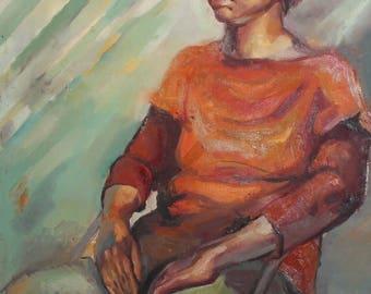 Vintage impressionist portrait oil painting
