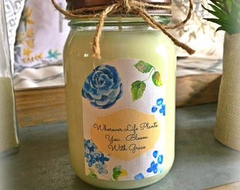 16oz. Hand Poured Hydrangea Soy Wax Candle