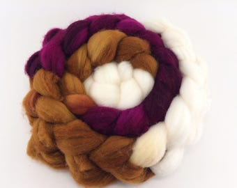 PB&J- 4oz wool roving, hand dyed, spinning fiber, combed top