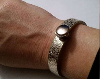 Gold leather up-cycled bracelet