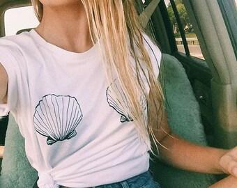 Seashell Mermaid Short Sleeve Tee - brandy melville inspired