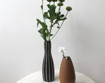 Hez Berlin – Vintage Ceramic Strip Pattern Brown Small Vase Set Home Decor Home Accessories