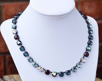 8mm Swarovski Crystal Necklace - Blues and Burgundy