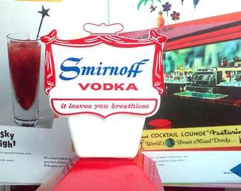 Smirnoff Vodka Swizzle Stick Holder - Vintage 1960's - Man Cave - Bachelor Party - Bachelorette Party - Bar Decor - New Old Stock - Alcohol