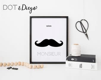 Black and White Bonjour Moustache Print,Printable,Digital Print,Nursery,Wall Art,living room,Children's Bedroom, A4 size,Download
