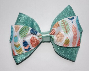 Feathers and Sparkles Double Boutique Hair Bow