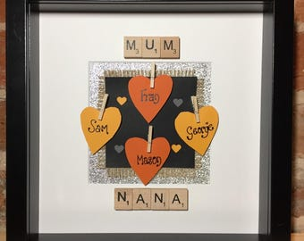 Personalised Scrabble Art Family Names Frame