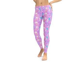 Hidden Unicorn Leggings or Capris Woman's Leggings Printed Leggings Yoga Workout Exercise Pants Crazy Funny Leggings Purple Unicorns Pants