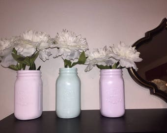 Painted Mason Jars, Rustic Decor, Chalk Paint Jars, Rustic Mason Jars, Home Decor, Vase, Mason Jar Centerpiece, Mason Jar Decor, Shabby Chic