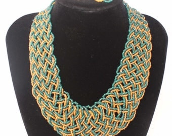 Choker Two Tone Beads Necklace and Earrings 2 PC Set