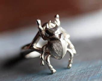 Scarab Ring, Silver Scarab, Beetle Ring, Sterling Beetle Ring, Scarab Jewelry