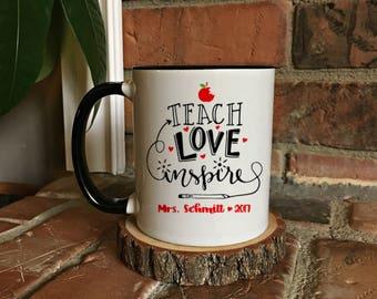 Teacher Mug , Teach  Love Inspire , Teacher Appreciation , Thank you gift , Teacher gift, Teacher coffee mug, gift for teacher, gift for her