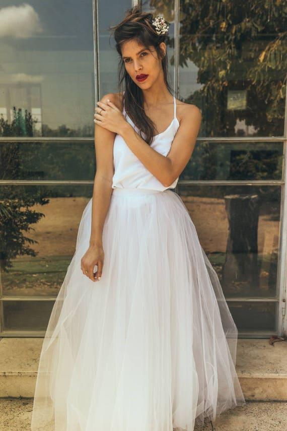 Flowy Hochzeitskleid für Sommer / Open zurück flowy