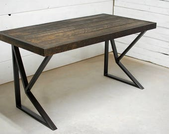 Wood Industrial Desk, Rustic Wood Desk, Industrial Furniture, Office Furniture, Rustic Table, Wood Desk, Reclaimed Table - FREE Shipping