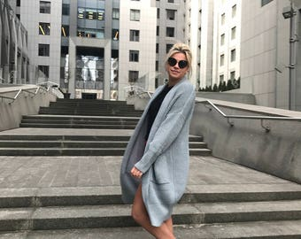 Wool knit coat knit long cardigan grey bohemian cardigan spring women knit coat chunky knit oversize cardigan cardigan pocket long coat
