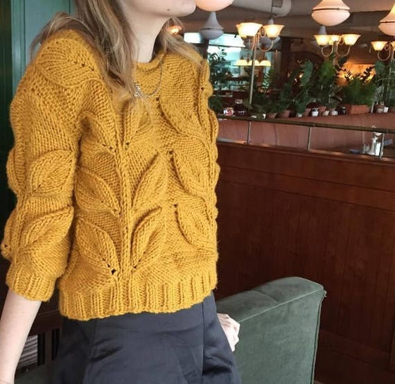 Women cable knit sweater mustard sweater knit short jumper
