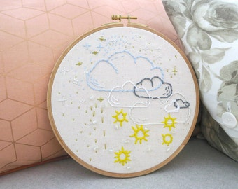 Broderie Cloudy suns hoop embroidery