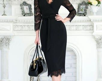 Black dress, lace summer dress with V neck, black bodycon dress , summer dress short sleeve, elegant dress, wedding dress, summer midi dress