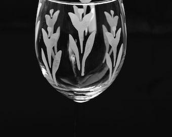 Custom Etched Wine Glass