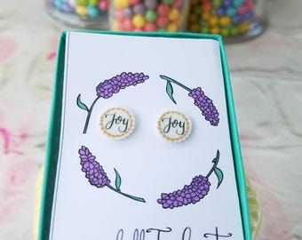 Handmade, Handlettered Joy Earrings