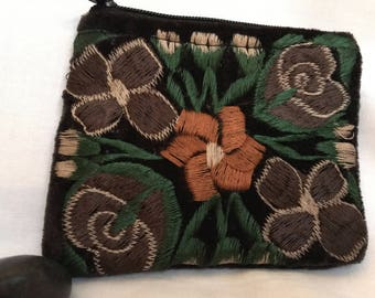 Handmade Embroidered purse//Fair Trade//Floral
