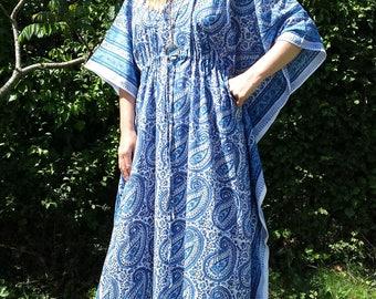Anokhi Vintage Indian Kaftan Festival Folk Boho Maxi Long Dress hand block print  S M L Uk 10 12 14 US 6 8 10