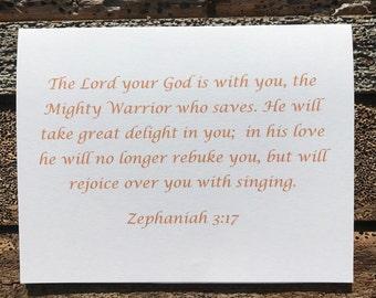 Zephaniah 3:17 Bible Verse Note Card