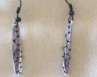 Silver and black long earrings