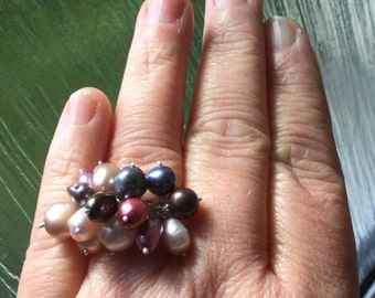 Sterling silver bubble pearl adjustable ring
