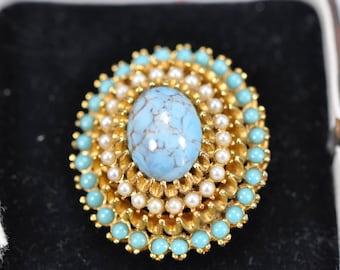Vintage Turquoise & Seed Pearl Brooch c.1940's