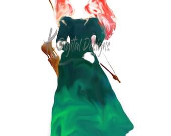 Disney Princess Merida Watercolor-INSTANT DIGITAL DOWNLOAD