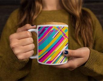 Techno Tunes Mug Unique Modern Design Coffee Mug Fun Colorful Coffee Mug Witty Novelty
