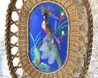 Vintage wicker wall basket with hand painted bird / real feathers / glass overlay