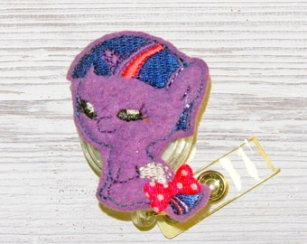 Purple Pony Badge Reel- Felt Badge Reel-Embroidered Felt Badge Reel- Felt Applique- Retractable ID Badge Holder- Nurse Badge Holder