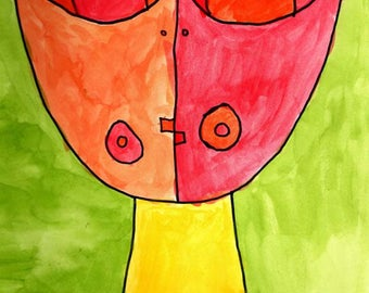 Red Face - Contemporary Art - Face Portrait - Paul Klee Style Painting - Print from Original Watercolor Painting by Matthew T. Rogers