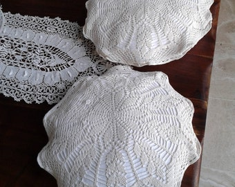 2 Chair cushions crochet lace with trim. Homemade