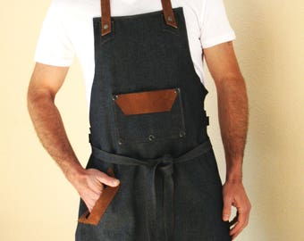 Handmade Fabric and suede apron