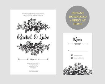 Printable Wedding Invitations Suite | DIY Wedding Invite Template | Printable Wedding Invitation Template | Word or Pages Compatible