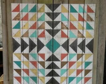 Painted Geometric Quilt On Reclaimed Cedar