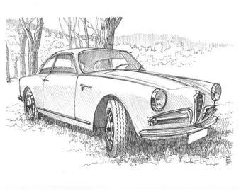 Alfa Romeo Giulietta Sprint Veloce - Original sketch