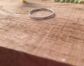 Hammered Sterling Silver Ring | Simple Silver Ring | Stackable Ring | Midi Ring | Delicate Hammered Ring | MADE TO ORDER