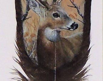 Hand Painted Wild Turkey Feather-Buck