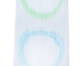 4th and 5th Chakras meditative design hand painted on a large silk scarf